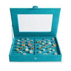 Tropical Teal Microsuede Ring Box, , default