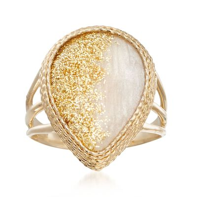 Enamel Glitter Ring in 14kt Yellow Gold, , default
