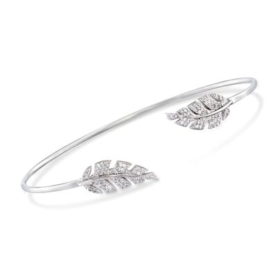 .43 ct. t.w. CZ Leaf Cuff Bracelet in Sterling Silver, , default