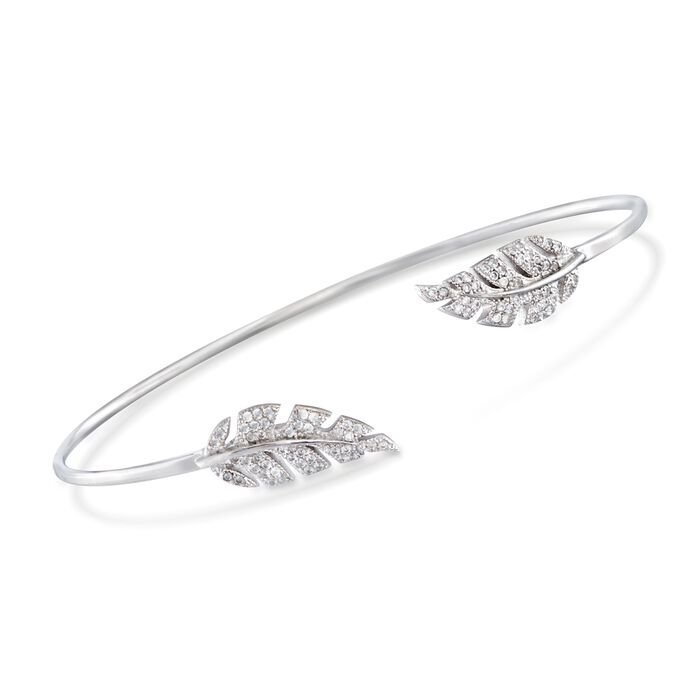 .43 ct. t.w. CZ Leaf Cuff Bracelet in Sterling Silver. 7.5""