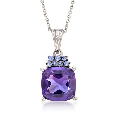 5.25 Carat Amethyst and .20 ct. t.w. Tanzanite Pendant Necklace in Sterling Silver, , default