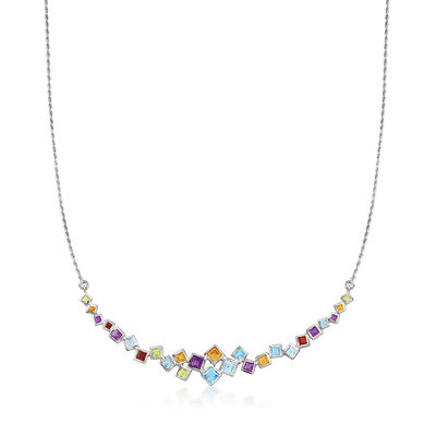 4.30 ct. t.w. Multi-Gemstone Necklace in Sterling Silver
