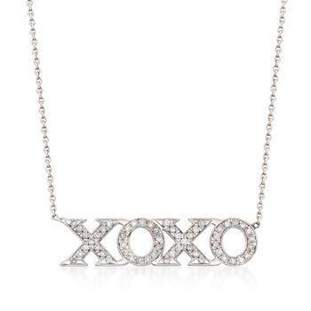 "Roberto Coin ""Tiny Treasures"".26 ct. t.w. Diamond XO Necklace in 18kt White Gold. 16"", , default"