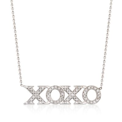 "Roberto Coin ""Tiny Treasures"".26 ct. t.w. Diamond XO Necklace in 18kt White Gold, , default"