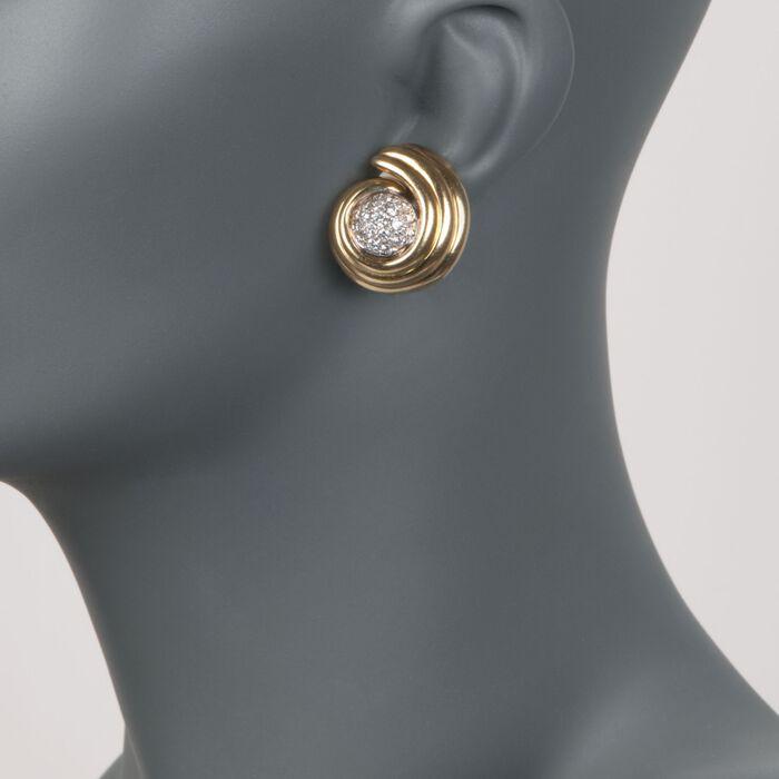 C. 1980 Vintage 1.60 ct. t.w. Diamond Swirl Earrings in 14kt and 18kt Gold