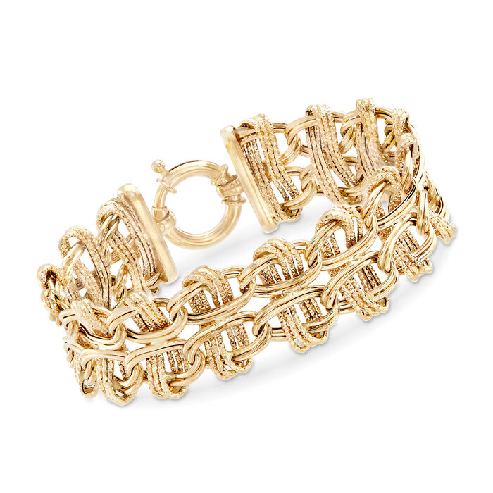 "14kt Yellow Gold Double Oval Interlocking Link Bracelet. 7"", , default"