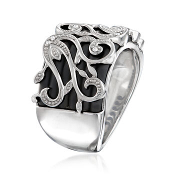 "Belle Etoile ""Andante"" Black Rubber Ring in Sterling Silver, , default"