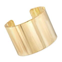 Italian Wide Cuff Bracelet in 14kt Yellow Gold, , default