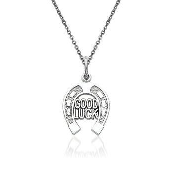 "14kt White Gold Good Luck Pendant Necklace. 18"", , default"