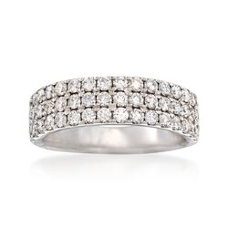 1.20 ct. t.w. Diamond Three-Row Ring in 14kt White Gold, , default