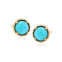 Italian Turquoise Curvy Framed Stud Earrings in 14kt Yellow Gold, , default