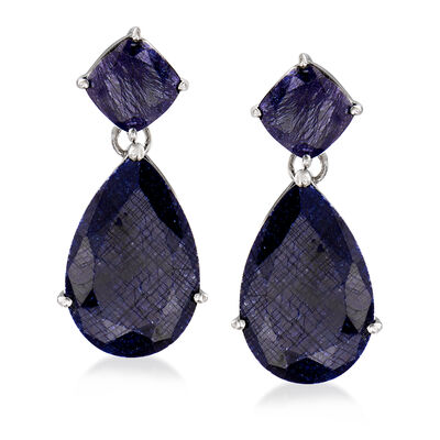 26.50 ct. t.w. Sapphire Drop Earrings in Sterling Silver, , default