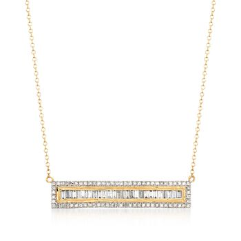 "1.00 ct. t.w. Round and Baguette Diamond Bar Necklace in 14kt Yellow Gold. 16"", , default"