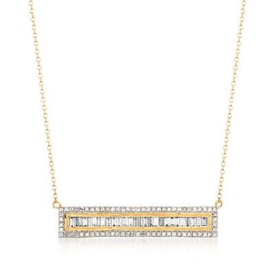 1.00 ct. t.w. Round and Baguette Diamond Bar Necklace in 14kt Yellow Gold, , default