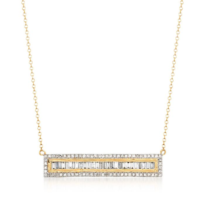 """1.00 ct. t.w. Round and Baguette Diamond Bar Necklace in 14kt Yellow Gold. 16"""", , default"""