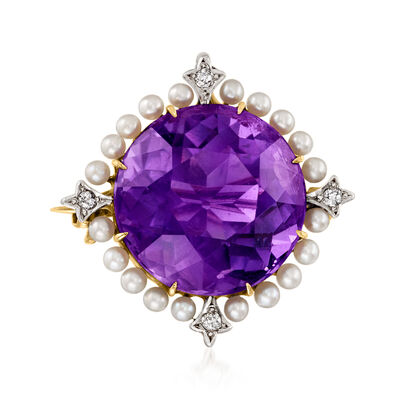 C. 1930 Vintage 18.50 Carat Amethyst and Seed Pearl Pin in 12kt Yellow Gold with Diamond Accents