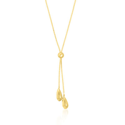 14kt Yellow Gold Teardrop Box Chain Lariat Necklace
