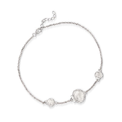 Sterling Silver Scallop Shell Anklet