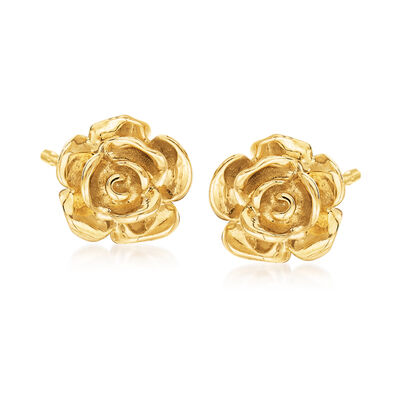 14kt Yellow Gold Rose Stud Earrings