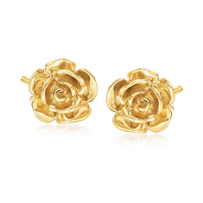 14kt Yellow Gold Rose Stud Earrings