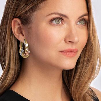 "Italian Andiamo 14kt Tri-Colored Gold Scalloped Hoop Earrings. 1 3/8"""