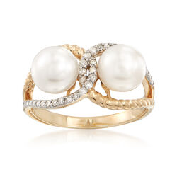 7-7.5mm Double Cultured Pearl and .16 ct. t.w. Diamond Roped Loop Ring in 14kt Gold, , default