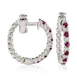 ".45 ct. t.w. Ruby and .15 ct. t.w. Diamond Hoop Earrings in 14kt White Gold. 5/8"", , default"