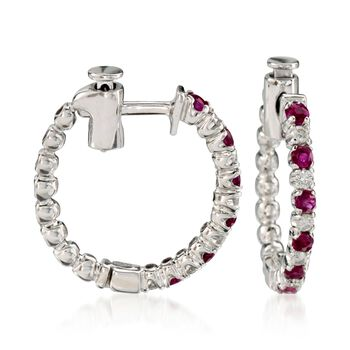 """.45 ct. t.w. Ruby and .15 ct. t.w. Diamond Hoop Earrings in 14kt White Gold. 5/8"""", , default"""