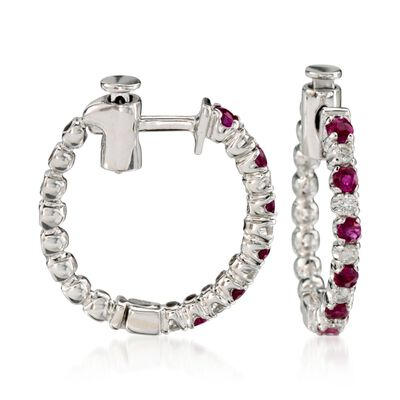 .45 ct. t.w. Ruby and .15 ct. t.w. Diamond Hoop Earrings in 14kt White Gold, , default
