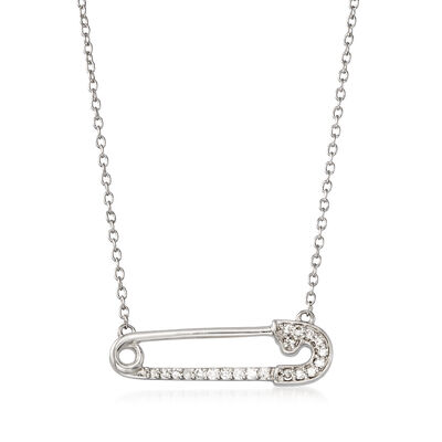 .10 ct. t.w. Diamond Safety Pin Necklace in Sterling Silver, , default