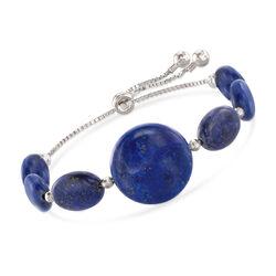 Lapis Bead Bolo Bracelet in Sterling Silver, , default