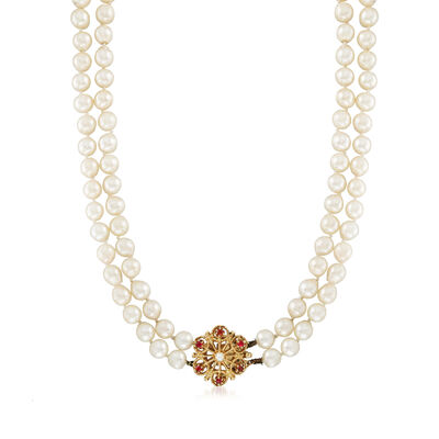 C. 1980 Vintage 6.5mm and 2.6mm Cultured Pearl and .20 ct. t.w. Ruby Double-Strand Flower Necklace in 14kt Yellow Gold