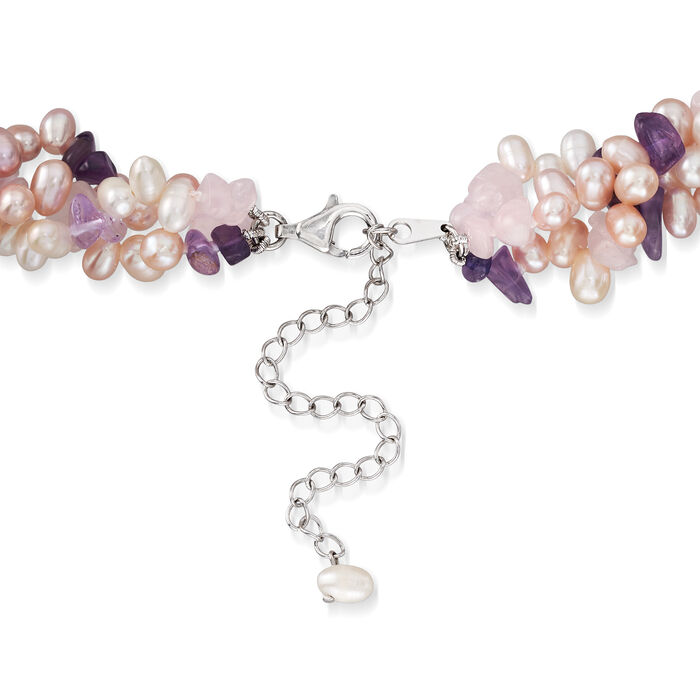 Cultured Pearl, Rose Quartz and Amethyst Torsade Necklace in Sterling Silver