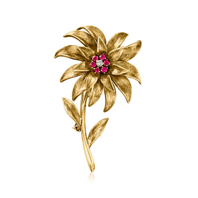 C. 1970 Vintage Tiffany Jewelry .40 ct. t.w. Ruby Flower Pin with Diamond Accent in 18kt Yellow Gold