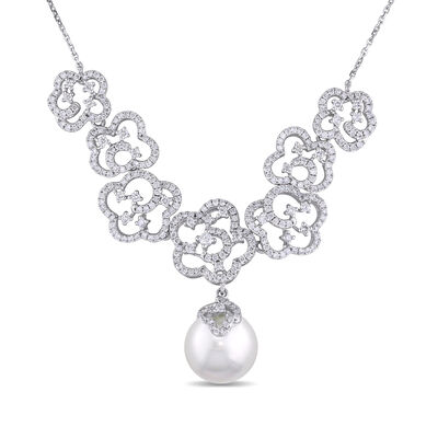 11-12mm Cultured South Sea Pearl and 1.70 ct. t.w. Diamond Necklace in 14kt White Gold, , default