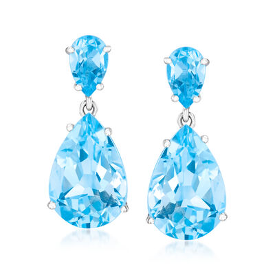 14.00 ct. t.w. Blue Topaz Drop Earrings in Sterling Silver