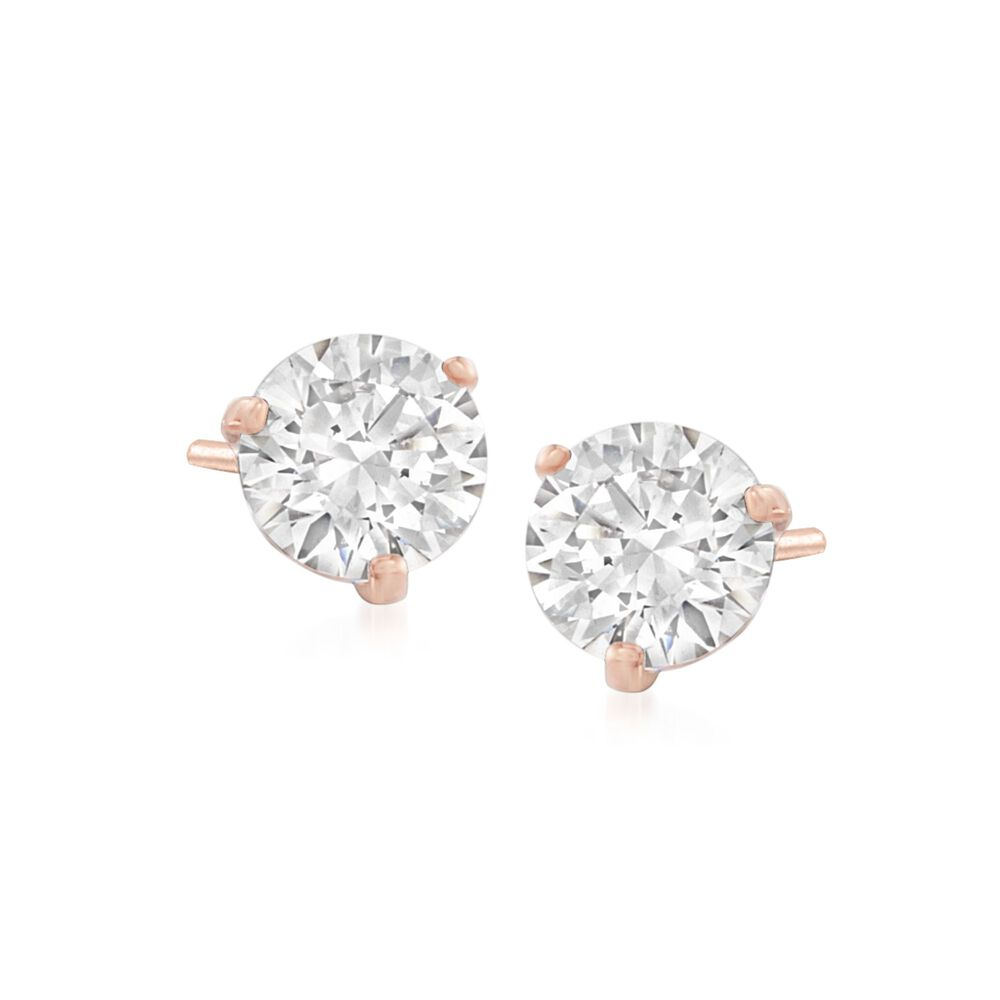 Swarovski Crystal Solitaire Clear Stud Earrings In Rose Gold