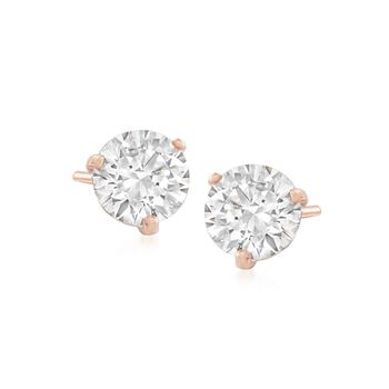 "Swarovski Crystal ""Solitaire"" Clear Crystal Stud Earrings in Rose Gold Plate, , default"