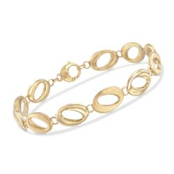 "14kt Yellow Gold Brushed and Polished Abstract Oval-Link Bracelet. 7.25"", , default"