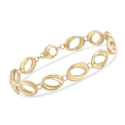 14kt Yellow Gold Brushed and Polished Abstract Oval-Link Bracelet, , default