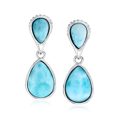Larimar Pear-Shaped Drop Earrings in Sterling Silver, , default