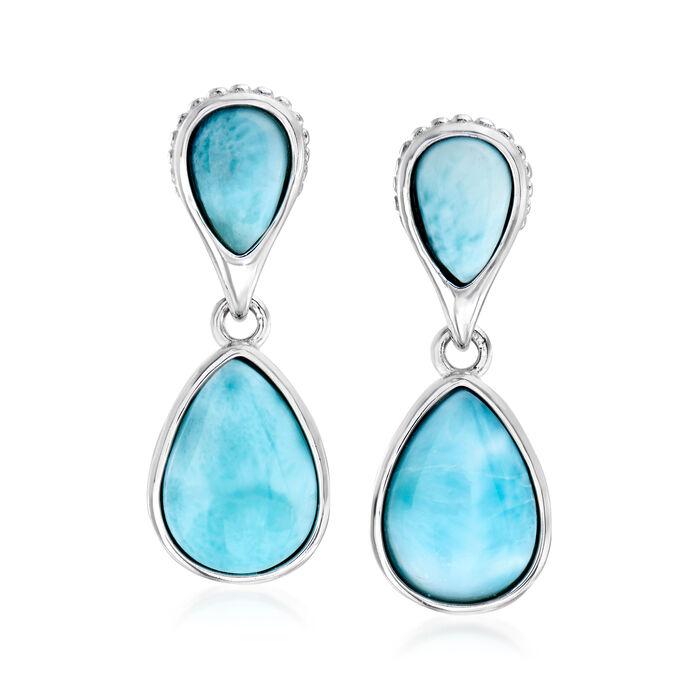 Larimar Pear-Shaped Drop Earrings in Sterling Silver