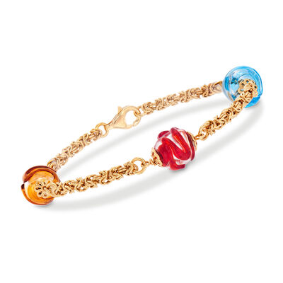 Italian Multicolored Murano Glass Bead Byzantine Station Bracelet in 18kt Gold Over Sterling, , default