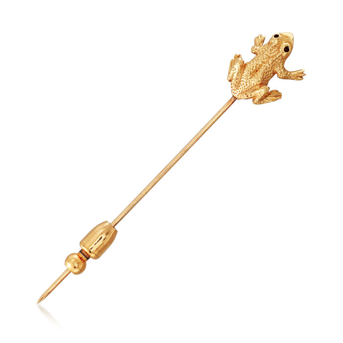 C. 1970 Vintage 14kt Yellow Gold Frog Pin, , default