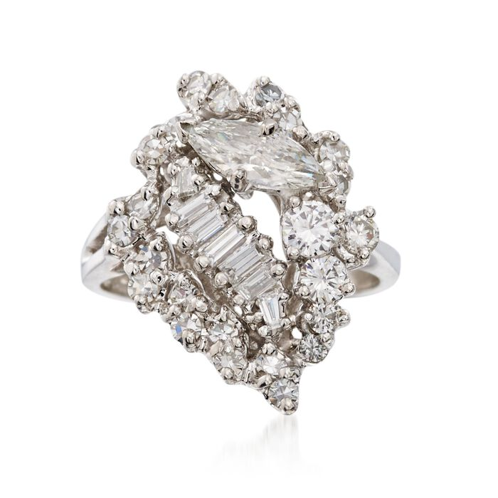 C. 1990 Vintage 1.50 ct. t.w. Multi-Cut Diamond Cluster Ring in 14kt White Gold. Size 6.5, , default