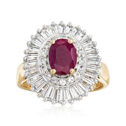 1.50 Carat Ruby and 2.00 ct. t.w. White Topaz Ring in 18kt Gold Over Sterling, , default