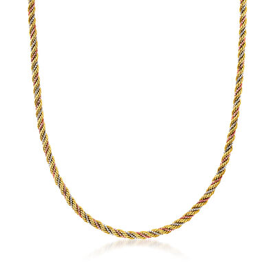 C. 1980 Vintage 14kt Tri-Colored Gold Twisted Rope and Box Chain Necklace