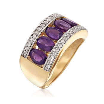 2.20 ct. t.w. Amethyst and .40 ct. t.w. White Zircon Ring in 18kt Gold Over Sterling, , default