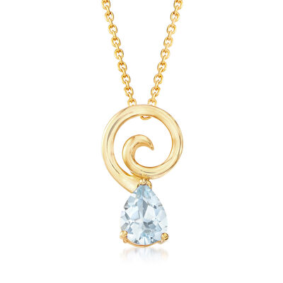 .80 Carat Aquamarine Pendant Necklace in 18kt Gold Over Sterling, , default