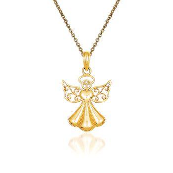 "14kt Yellow Gold Guardian Angel Pendant Necklace. 18"", , default"